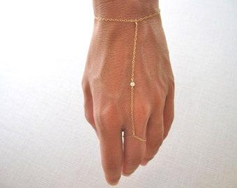 slave bracelet - hand chain // delicate 14k gold filled chain with tiny cubic zirconia cz diamond ring bracelet
