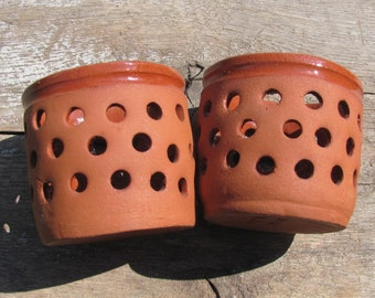 Pair of Tealight Lanterns; Studio Pottery; Swedish Vintage Candle Holders; Terracotta Pottery Perforated Tealight Bowls; Tea Candle Holders