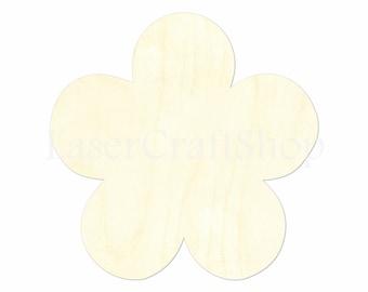 "2"" - 34"" Flower Cutout Shape, Silhouette, Gift Tags Ornaments, Decoration Laser Cut Birch Wood  #1348"