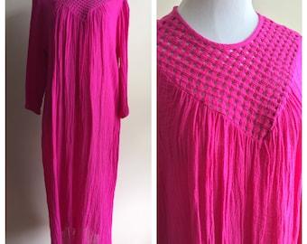 Vintage 1970s Gauzy Hot Pink Dress with Criss-Cross Neckline