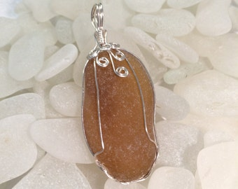 Large Honey Amber Sea Glass Pendant Chunky Wire Wrapped Ocean Waves Collection