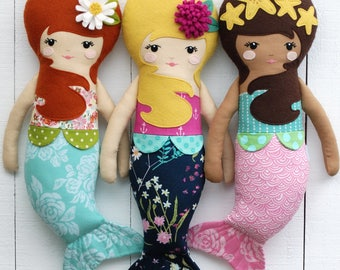 Mermaid Doll PDF Sewing Pattern - Girl Doll - Fabric Doll