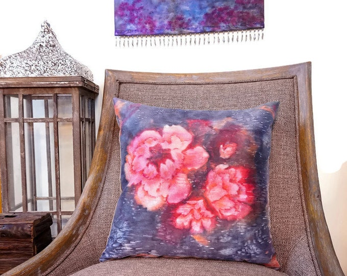 Large Scale Flower Pillow-Watercolor Pillow-Pink Decor-Garden Decor-Shabby Chic Decor-Cottage Decor-Mother's Day Gift-Watercolor Home Decor