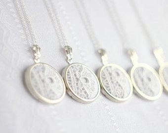 Bridesmaid necklaces - lace necklaces with white lace l005