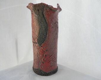Pink and Red RAKU ceramic vase