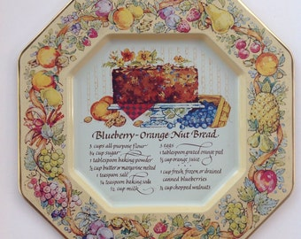 Vintage Recipe Tin Hospitality, Serving Tray from Avon, Blueberry Orange Nut Bread, Cottage Kitchen Decor, Vintage Baking Collectiables