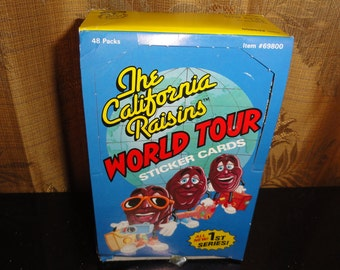 Vintage The California Raisins World Tour 1988 Calrab Zoot Non-Sport 1st Series 48 Packs of 5 Sticker Cards In Its Original Box