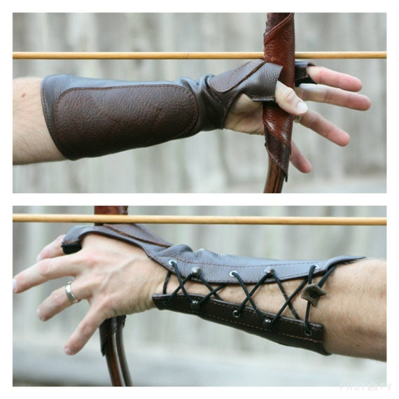Woodland Brown Leather Arm Guard Bow Hand Shooting Glove Left