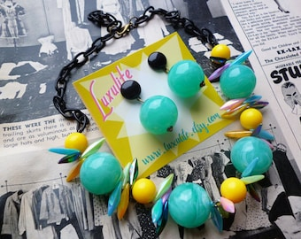 NEW! Mid Century inspired atomic necklace - 1940s vintage style handmade by Luxulite