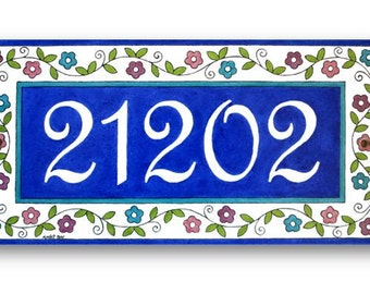 Address Numbers, House Number, Hand painted Tiles, Flowers pattern