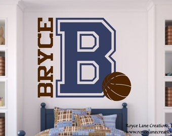X-LRG Size Varsity Letter Decal with Personalized Name and Basketball B9 Basketball Decal Sports Wall Decal Basketball Wall Decal