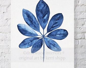 Tropical Leaf Wall Art Watercolor Print 11x14 - Blue Palm Wall Art - Watercolor Art Print - Giclee Print