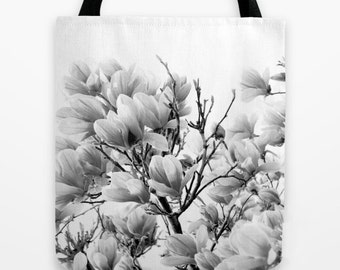 Magnolia Market Bag, Floral Tote, Black and White Floral Bag, Book Bags for Women, Market Tote, Shabby Chic, Boho, Gifts for Her