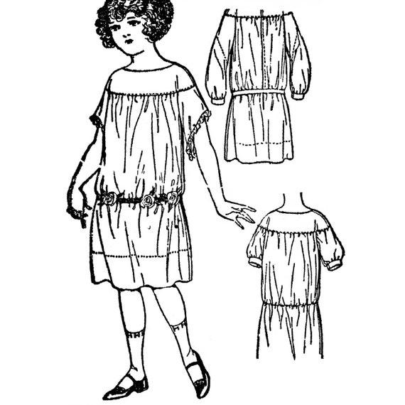 PAC1275 vestido coser patrón 1923 niñas por últimos patrones