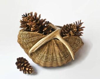 Rustic Antler Basket Handwoven Decorative Organic Western Lodge Cabin Farmhouse Rustic Decor