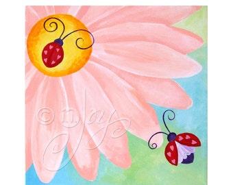 Custom Art - LOVE BUG on a FLOWER - 12 x12 inch acrylic painting