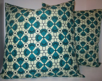 Handmade African pillow cover in turquoise, cream abstract floral
