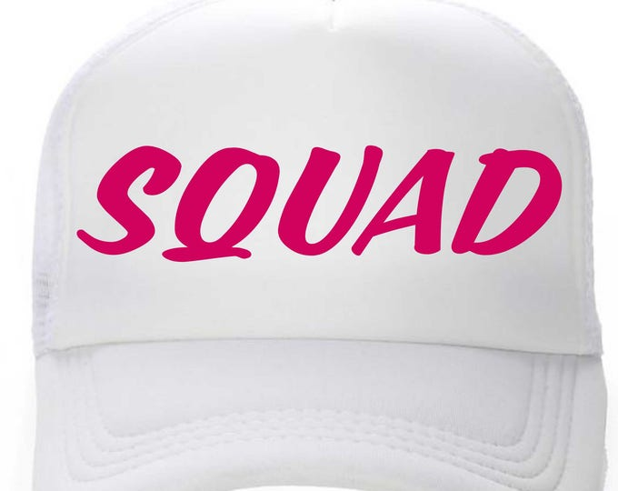 SQUAD bachelorette hats - personalized bridesmaid hats - bachelorette party hats- bridal party hats- bride, bridesmaid - hot pink and white