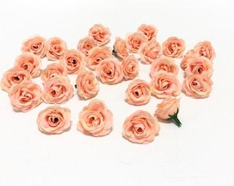 9 or 18 deep red artificial mini roses on short stems 30 artificial miniature peach mini roses artificial flowers silk flowers flower crown mightylinksfo