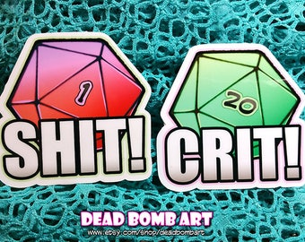 """2.5"""" d20 Dice decal vinyl stickers - Dungeons and Dragons, critical fail 1, natural 20 success, RPG tabletop games"""