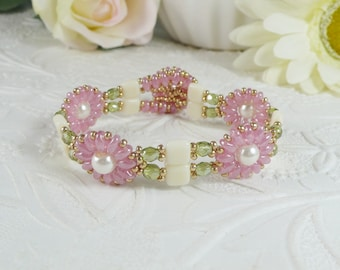 Woven Flower Bracelet Pink Green and Cream Gifts for Her