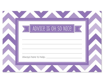 Chevron Purple Advice Cards - 18 Helpful Hints Cards for a Baby Shower, Birthday Party or Bridal Shower