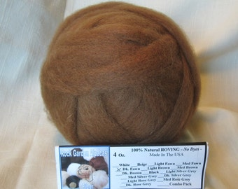 4 oz. Dark Fawn Alpaca Roving - for Spinning, Nuno Felting or Needlefelting