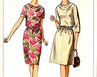1960's Dress with Cowl Neckline and Blouson Bodice , Slim or Flared Skirt , Simplicity Sewing Pattern No. 6327 , Office Dress  - Bust 32