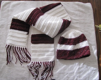 White and Maroon Matching Hat and Scarf with Fringe Set
