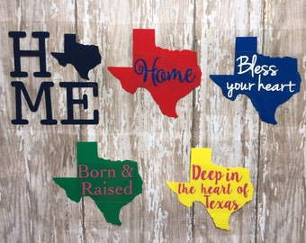 Texas Home State Iron on Decals/ Bless your heart Iron on Decal/Texas Iron on Decals/ Deep in the heart of Texas/ DIY Texas Shirt