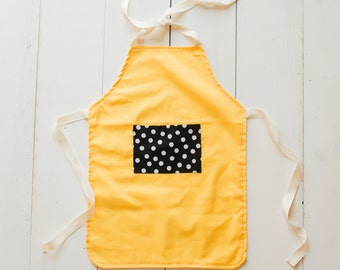 Children's Apron - Yellow Apron with Black and White Pocket - Little Girl Apron - Toddler Girl Apron - Cute Apron