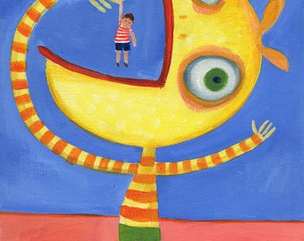 Monster Needs to Learn Not to Eat Friends - Acrylic Painting, 8x10 PRINT, Whimsical, Colourful, Happy, Reproduction