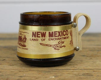 Vintage New Mexico Tourist Mug Cup, New Mexico State Vintage Souvenir, Kitschy, Amber Glass and Wood, Made in Taiwan, New Mexico Love, Old