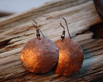 Copper Disc Earrings, Hammered Earrings, Dangle Earrings, Round Copper Earrings, Boho Earrings, Unique Earrings, Women's, Washed Up Jewelry