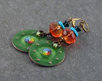 Gypsy Earrings Bohemian Chic Earrings Hippie Copper Enameled Earrings