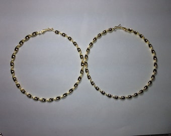 Gold Twisted Hoop Earring 4 inch