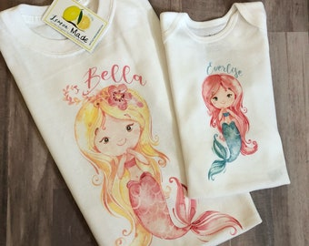 Mermaid tee with name and birthday digit you design