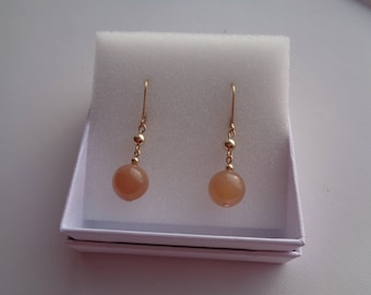 Gold earrings with moonstone, 585 gold Filled