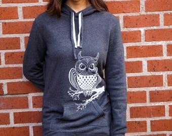 Owl| Hooded Sweater dress| Soft| tunic| art by MATLEY| Gift for her| Bird| winter dress| Women's Jumper| tall| Zen| Perfect holiday gift.