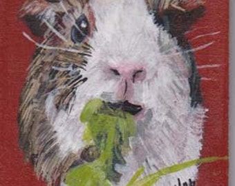 Guinea Pig ACEO ,small pet portrait on aceo, gerbil portrait. 2-1/2  x 3 -1/2portrait aceo on easel,art trading card