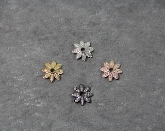 CZ Micro Pave 10mm Flower Bead Cap