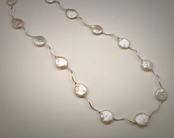 Sterling silver squiggle necklace with white freshwater coin pearls