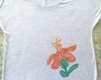Women's Blouse, White-Grey, with an Orange, Yellow, and Green Koki'o (Native Hawaiian Hibiscus) Block Print
