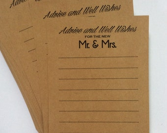 Set of  50  Wedding Advice Cards for Bride and Groom Mr and Mrs