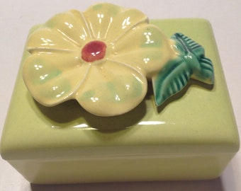 Vintage Ceramic Cigarette Box Flower Lid Chartreuse Lime Green