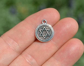10 Silver Star of David Charms SC5303