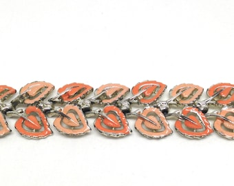 Coro Signed Pegasus Orange Pink Leaves Vintage Estate Bracelet
