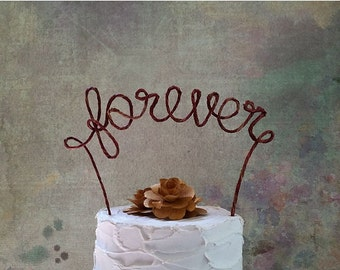 Rustic FOREVER Wedding Cake Topper, Rustic Wedding Cake Decoration, Wedding Centerpiece, Rustic Wedding Decoration