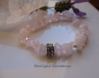 Rose Quartz Gemstone Chip Bracelet with Hill Tribe Silver Spacers and Rhinestone metal spacer.