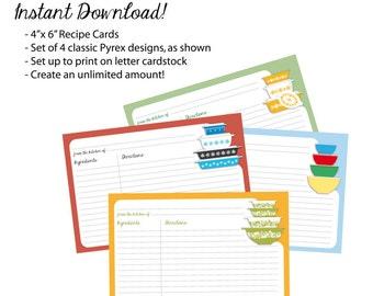 "Pyrex Patterns Recipe Cards Digital Download, 4""x6"" - Set of 4 designs"